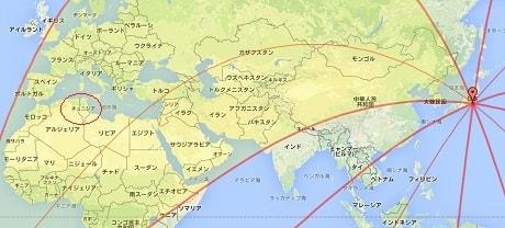 日本から北西方位